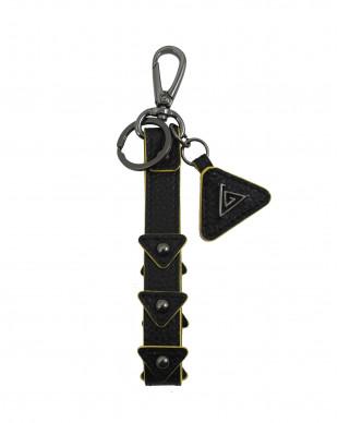 Porte clés en cuir noir roche PLEO