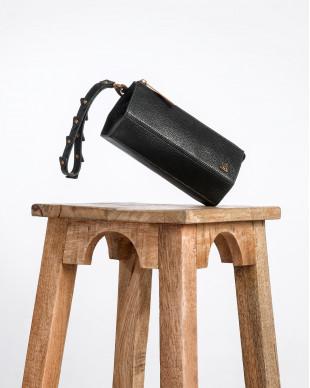 Pochette en cuir noir roche CLEO