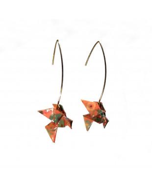 Boucles d'oreilles origami oiseaux crochet doré
