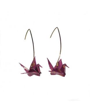 Boucles d'oreilles origami grues violet crochet doré
