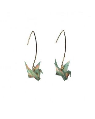 Boucles d'oreilles origami grues vert crochet doré