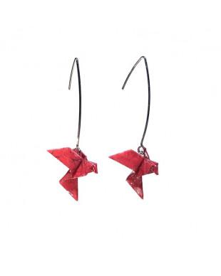Boucles d'oreilles origami oiseaux rouge crochet argenté