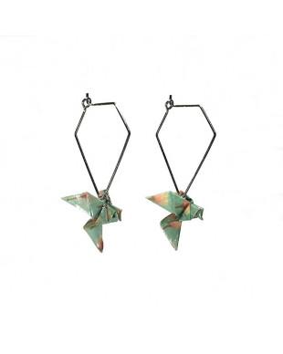 Boucles d'oreilles origami oiseaux vert crochet diamant argenté