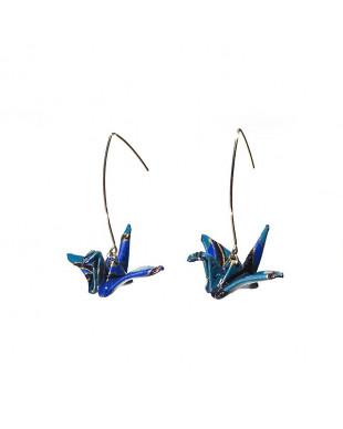 Boucles d'oreilles origami grues bleu doré crochet doré