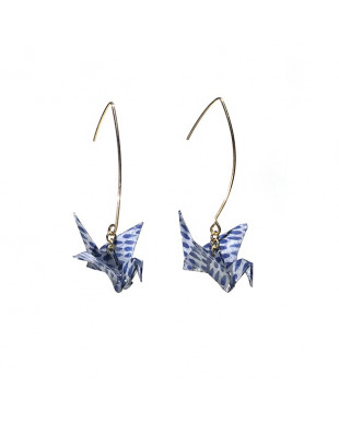 Boucles d'oreilles origami grues bleu crochet doré