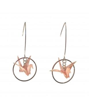 Boucles d'oreilles origami grues rose crochet argenté