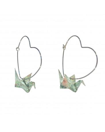 Boucles d'oreilles origami grues vert crochet coeur argenté