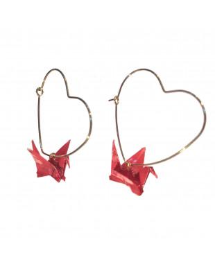 Boucles d'oreilles origami grues rouge crochet coeur doré