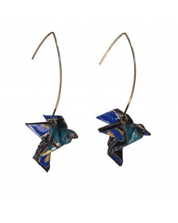 Boucles d'oreilles origami oiseaux bleu doré crochet doré