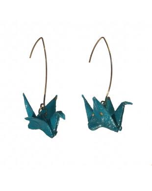 Boucles d'oreilles origami grues bleu turquoise crochet doré