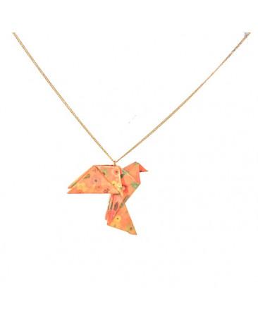 Collier origami oiseau chaine dorée