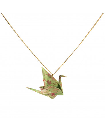 Collier origami grue vert chaine dorée