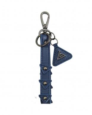 Porte clés en cuir bleu wave PLEO